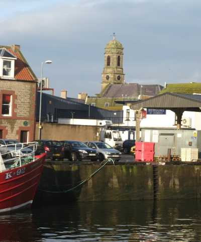 The former Eyemouth Parish Church taken from the harbour.